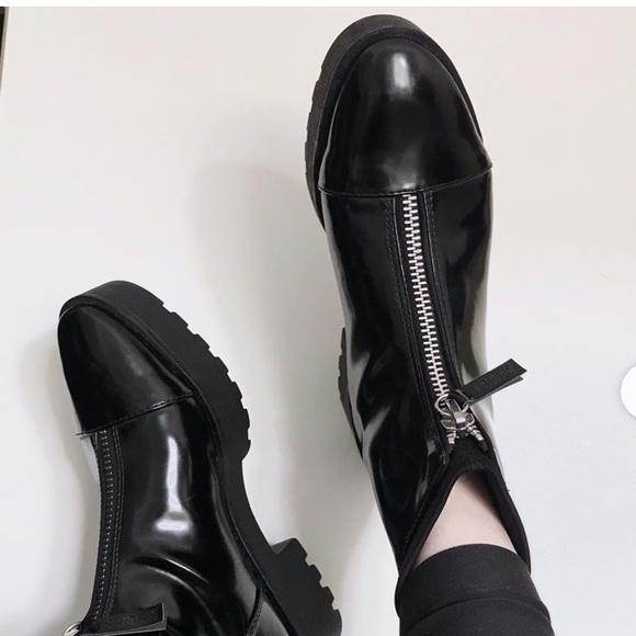 Shiny Zipfront Lug Sole Ankle Boots